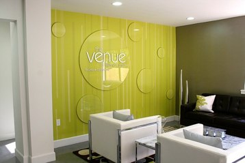Custom Wall Covering with Acrylic Overlays<br />The Venue sales office, L.A.